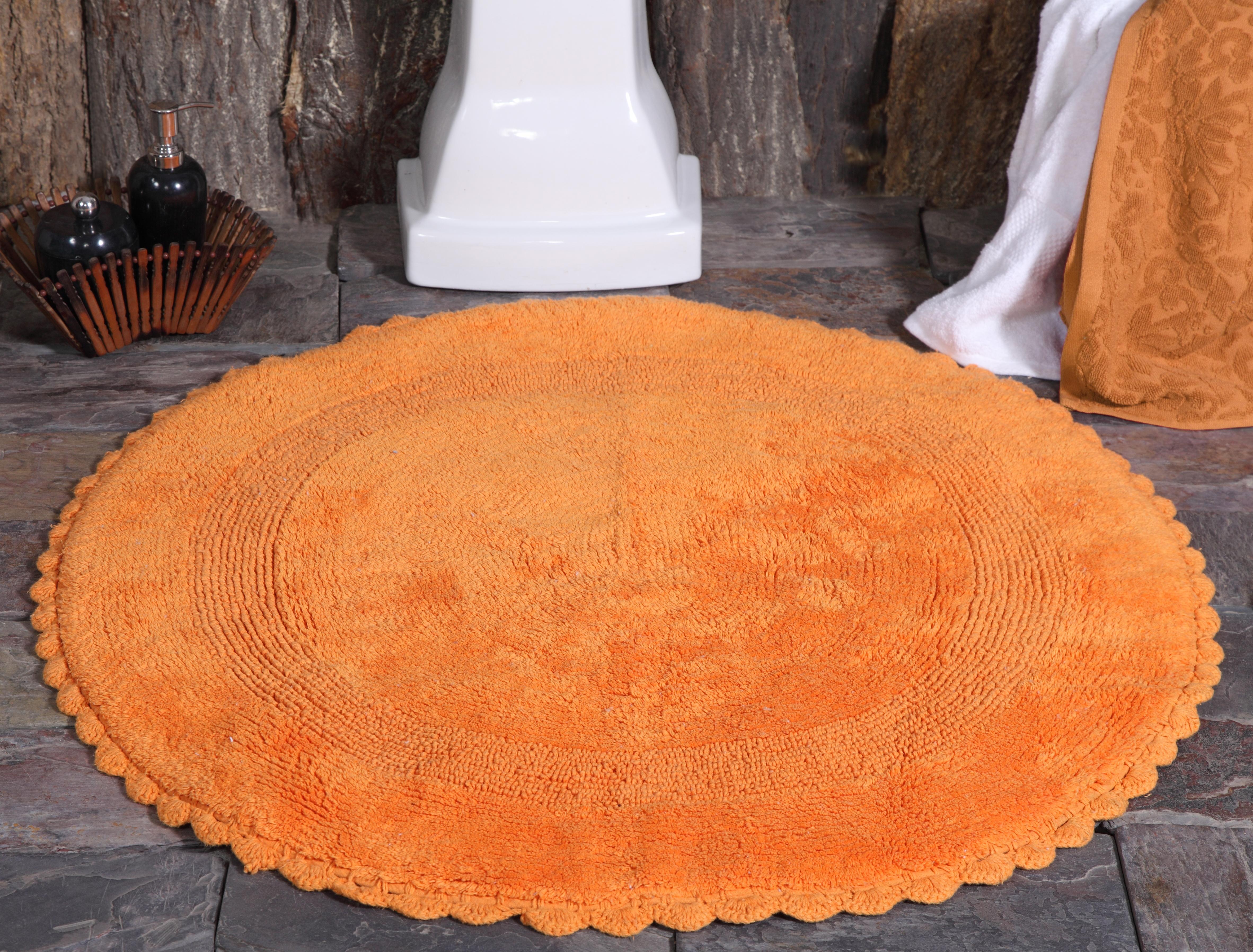 Bath Rug Cotton 36 Inch Round Reversible Orange Crochet