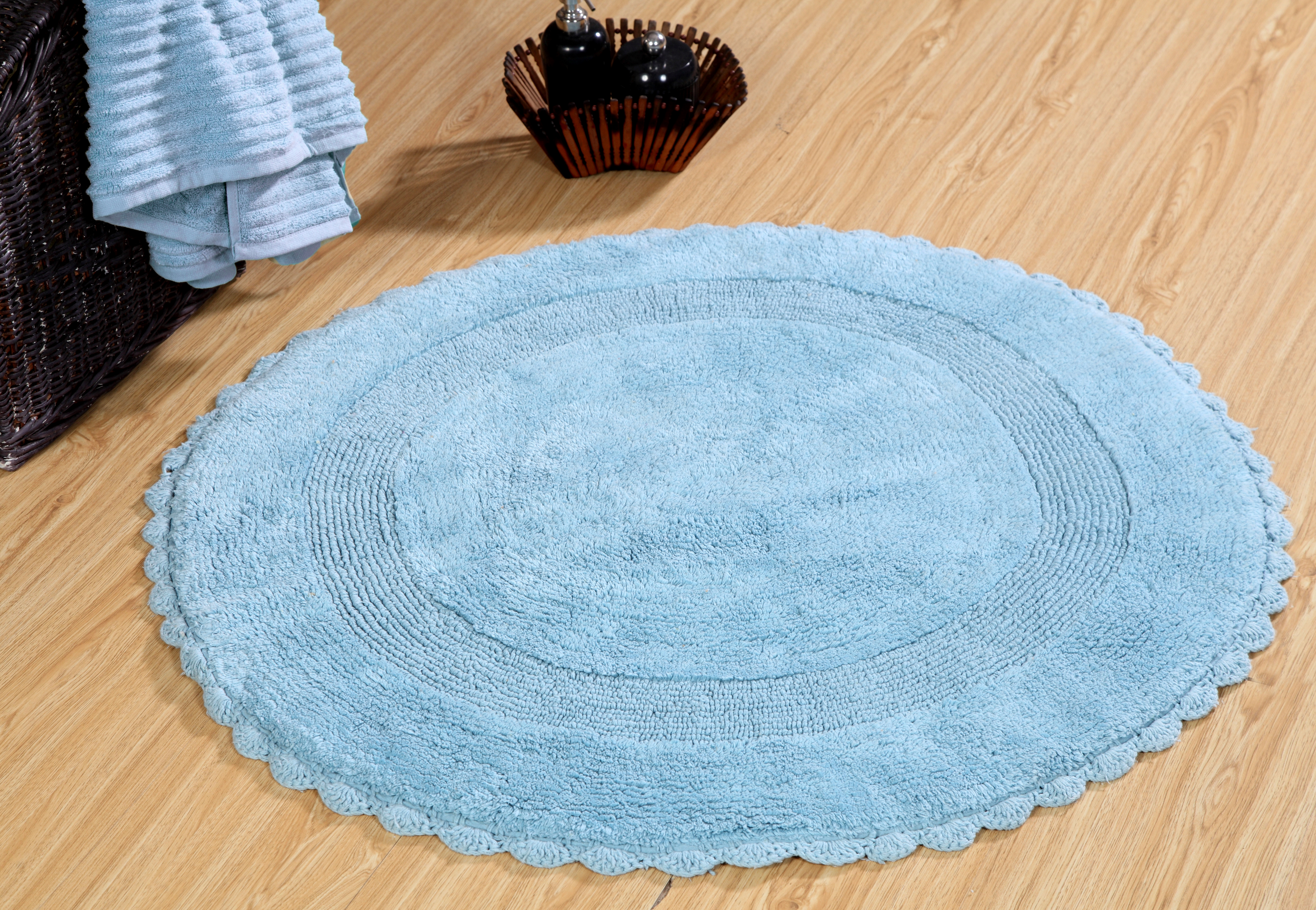 Image Is Loading Bath Rug Cotton 36 Inch Round Reversible Arctic