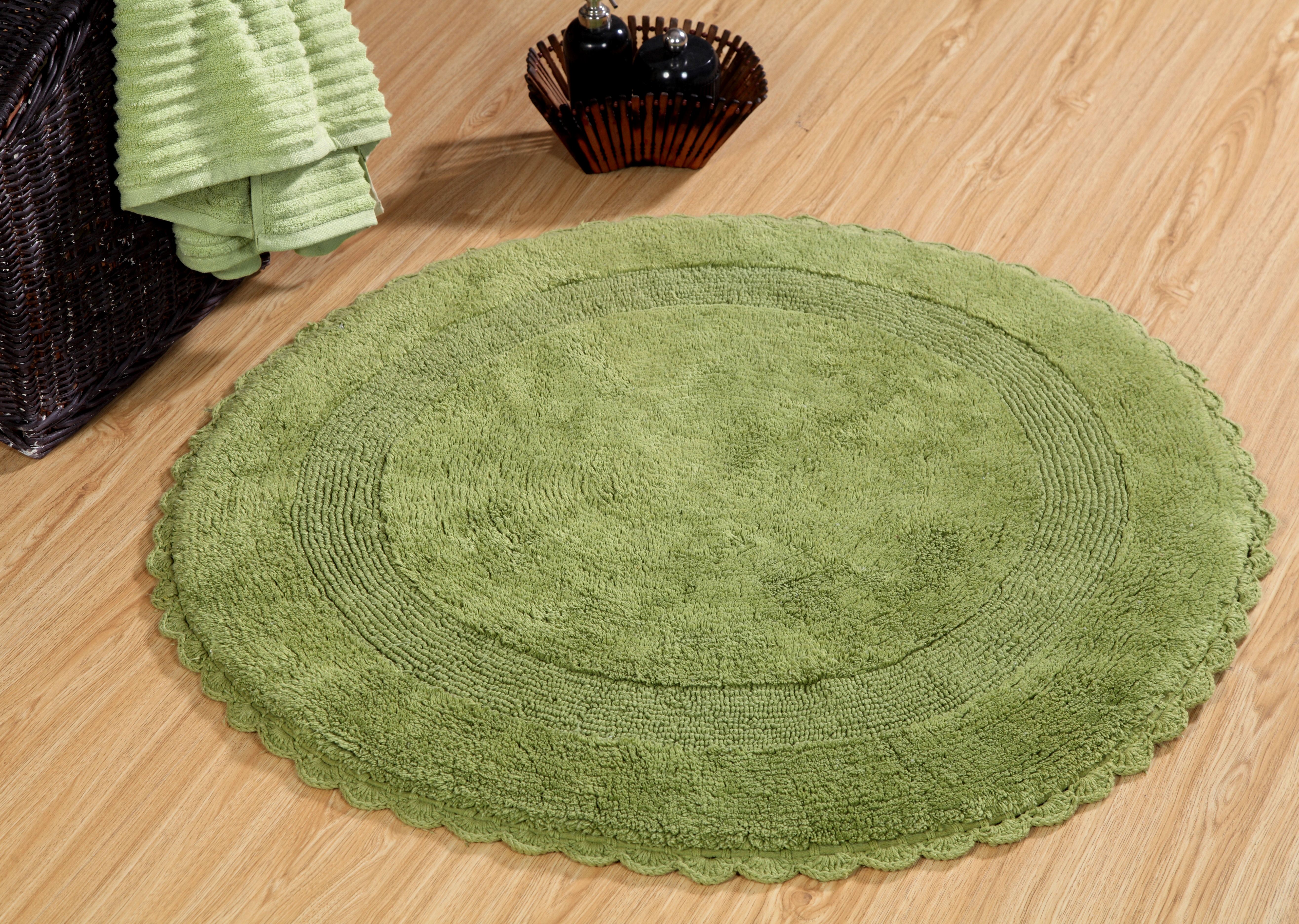 Image Is Loading Bath Rug Cotton 36 Inch Round Reversible Sage
